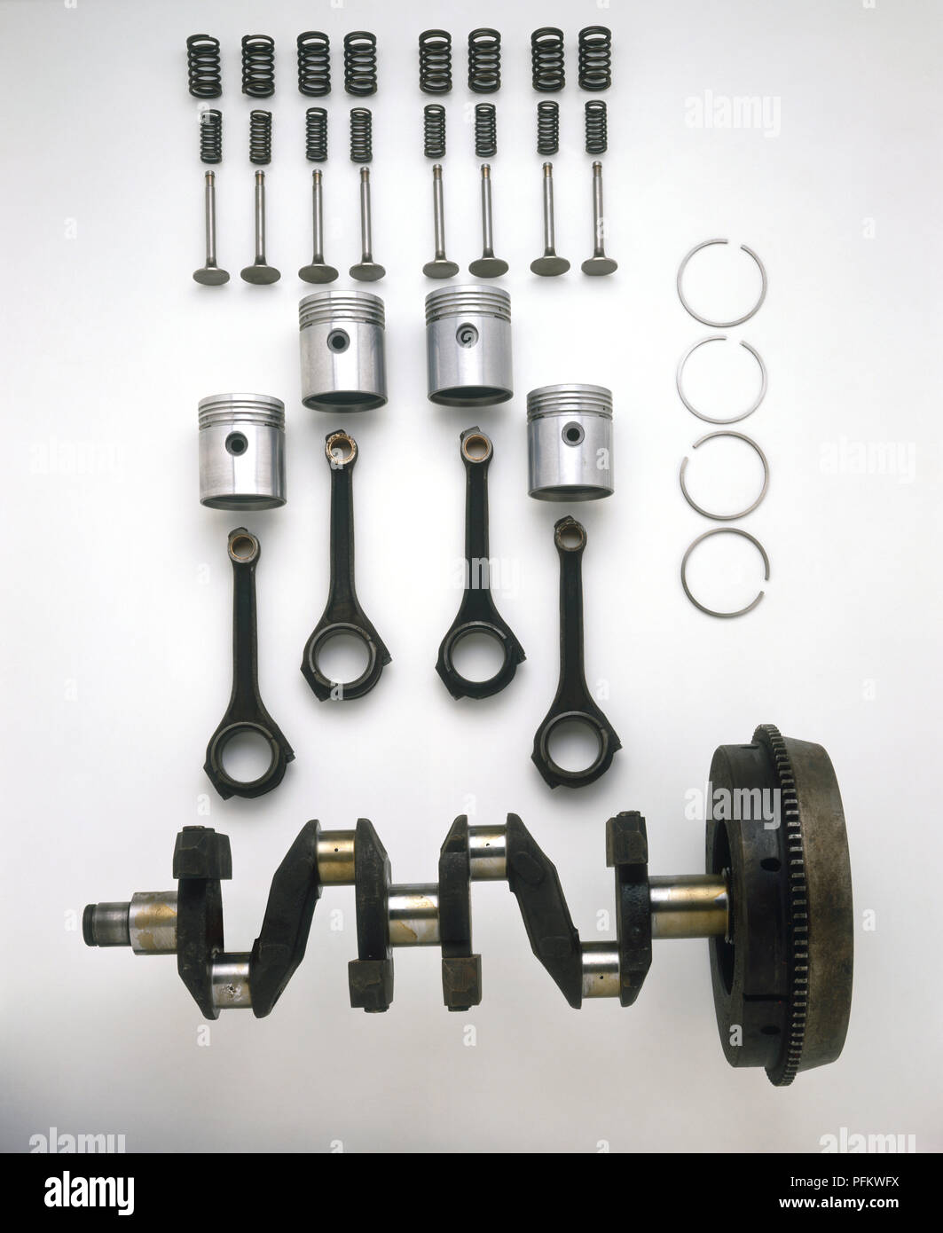 Car Engine Parts Including Valves Pistons Connecting Rods And