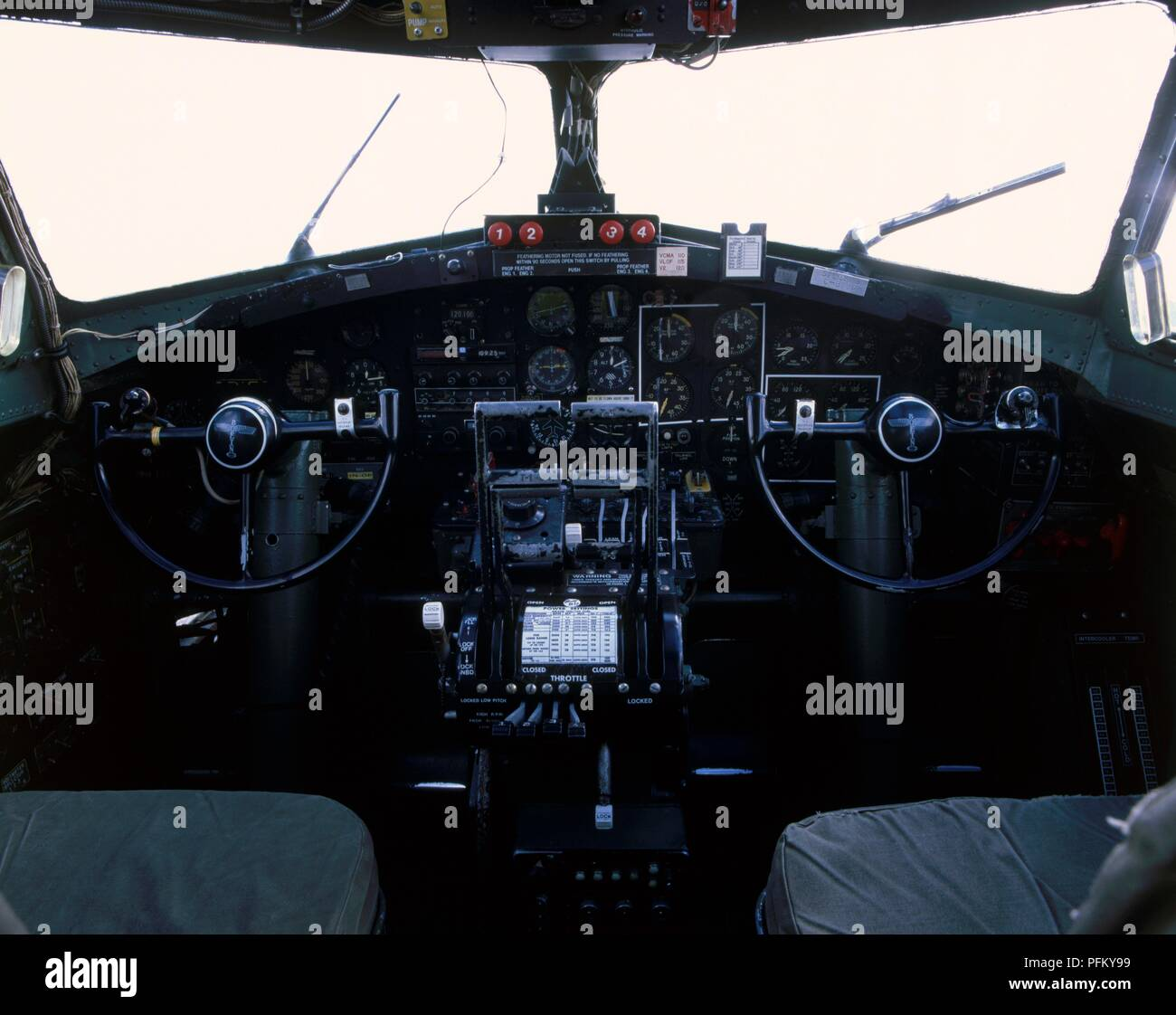 Boeing B-17G Flying Fortress, cockpit Stock Photo