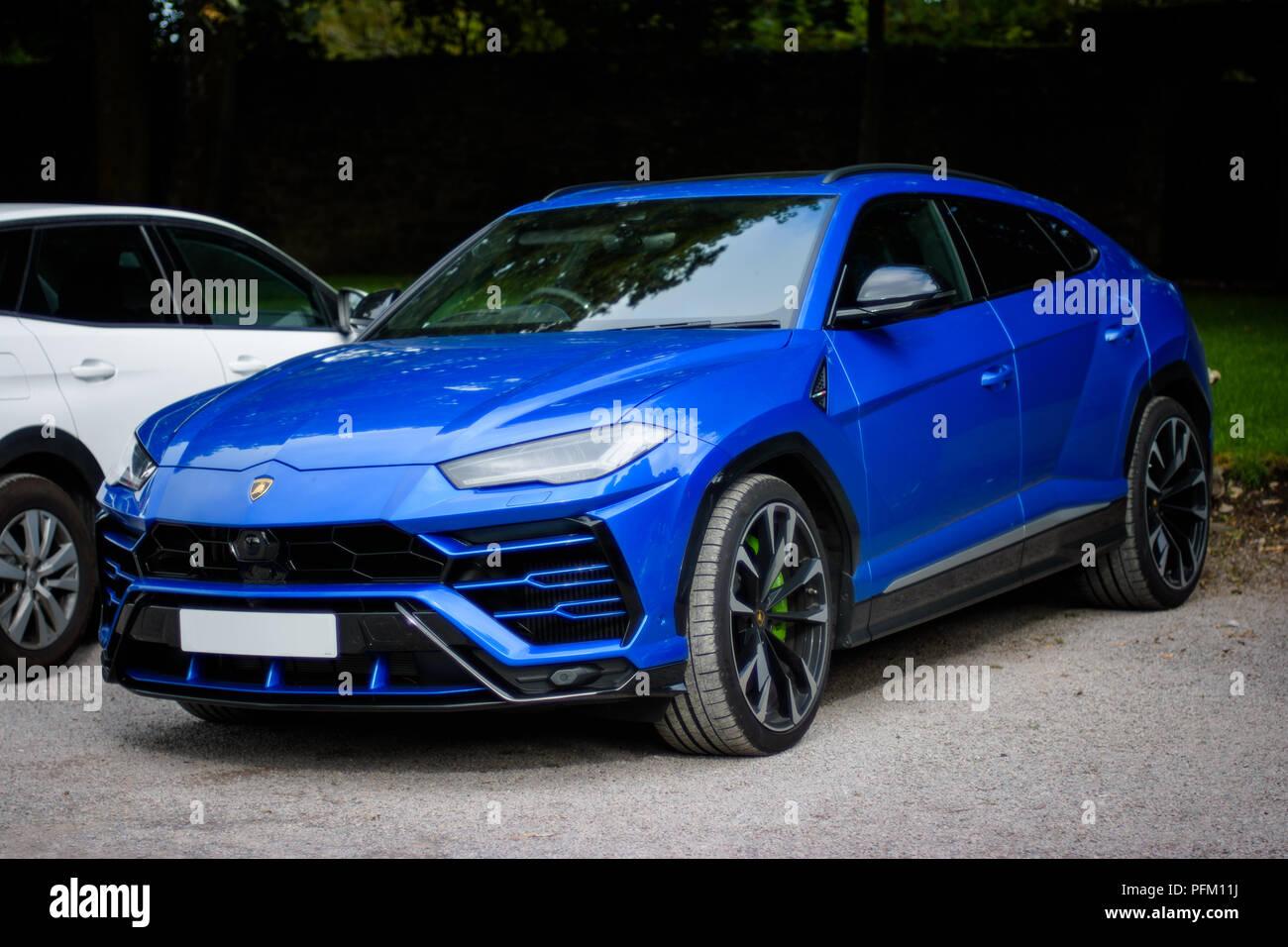 Cardiff Wales Uk August 19 2018 Blue Lamborghini Urus Stock