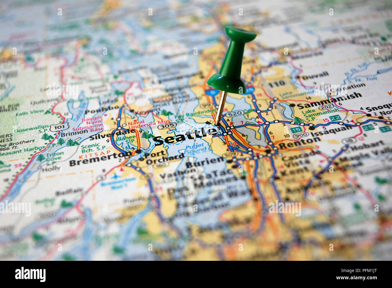 A Map Of Seattle Washington Marked With A Push Pin Stock Photo