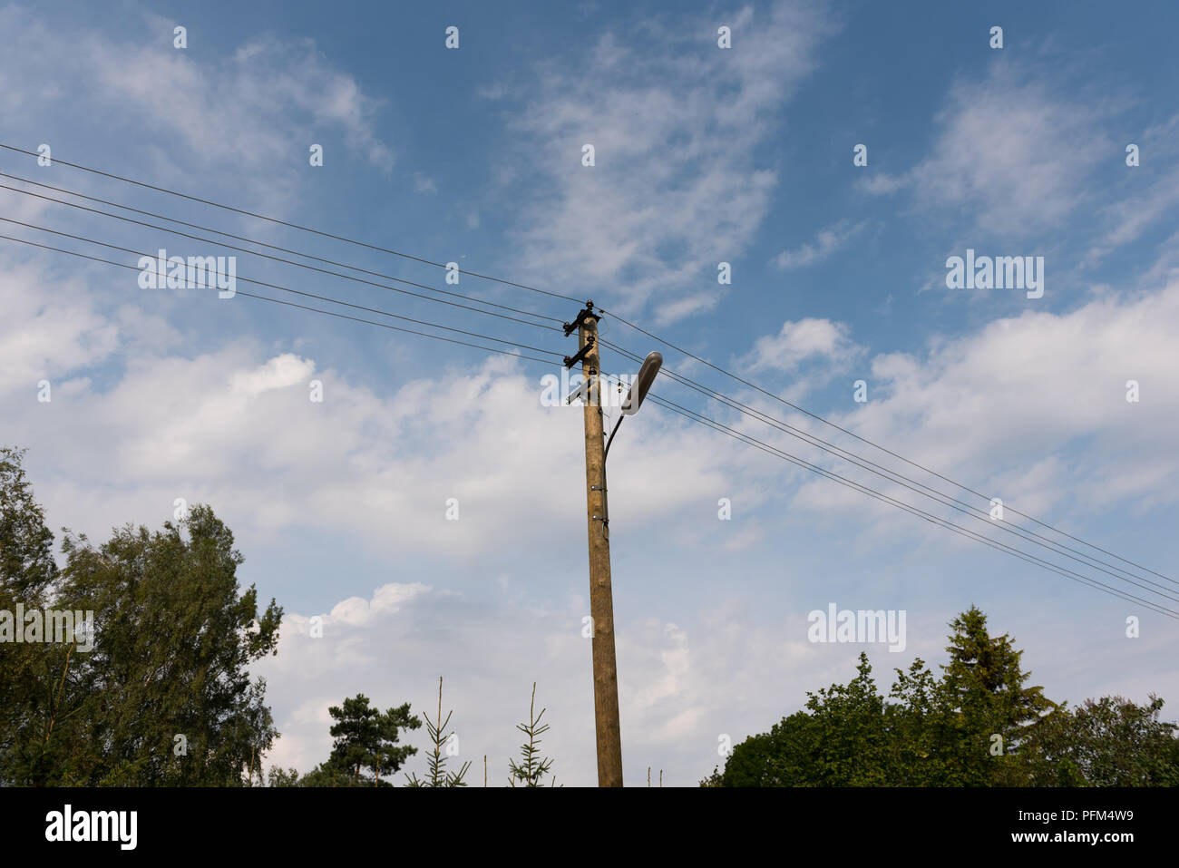 Wooden Street Lamp Post Stock Photos Wiring A With Electric Wires Against Blue Sky White Clouds Image