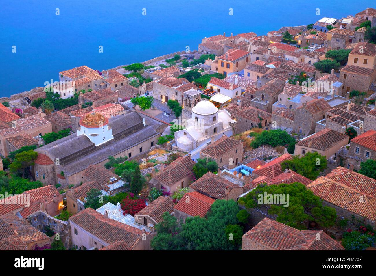 Monemvasia at Dusk, Laconia, The Peloponnese, Greece, Southern Europe - Stock Image