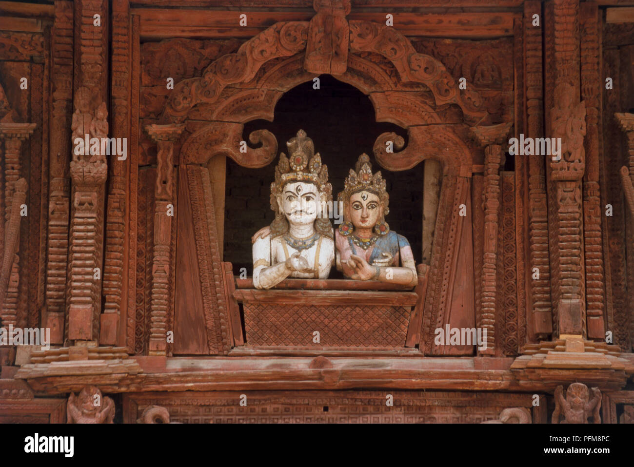 Decorative wooden images in Durbar Square, Kathmandhu. - Stock Image