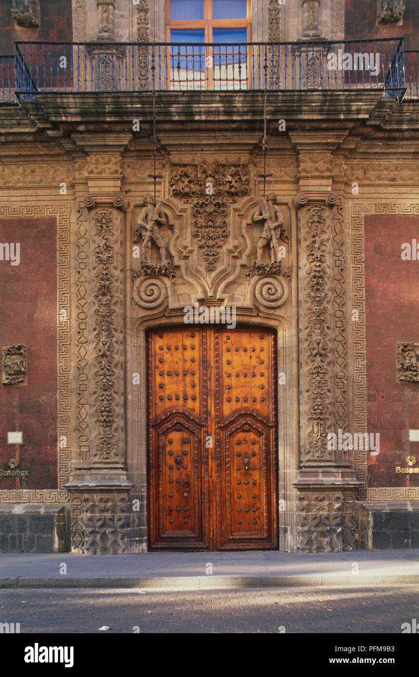Mexico, Mexico City, Palacio de Iturbide, entrance section of ornate facade.
