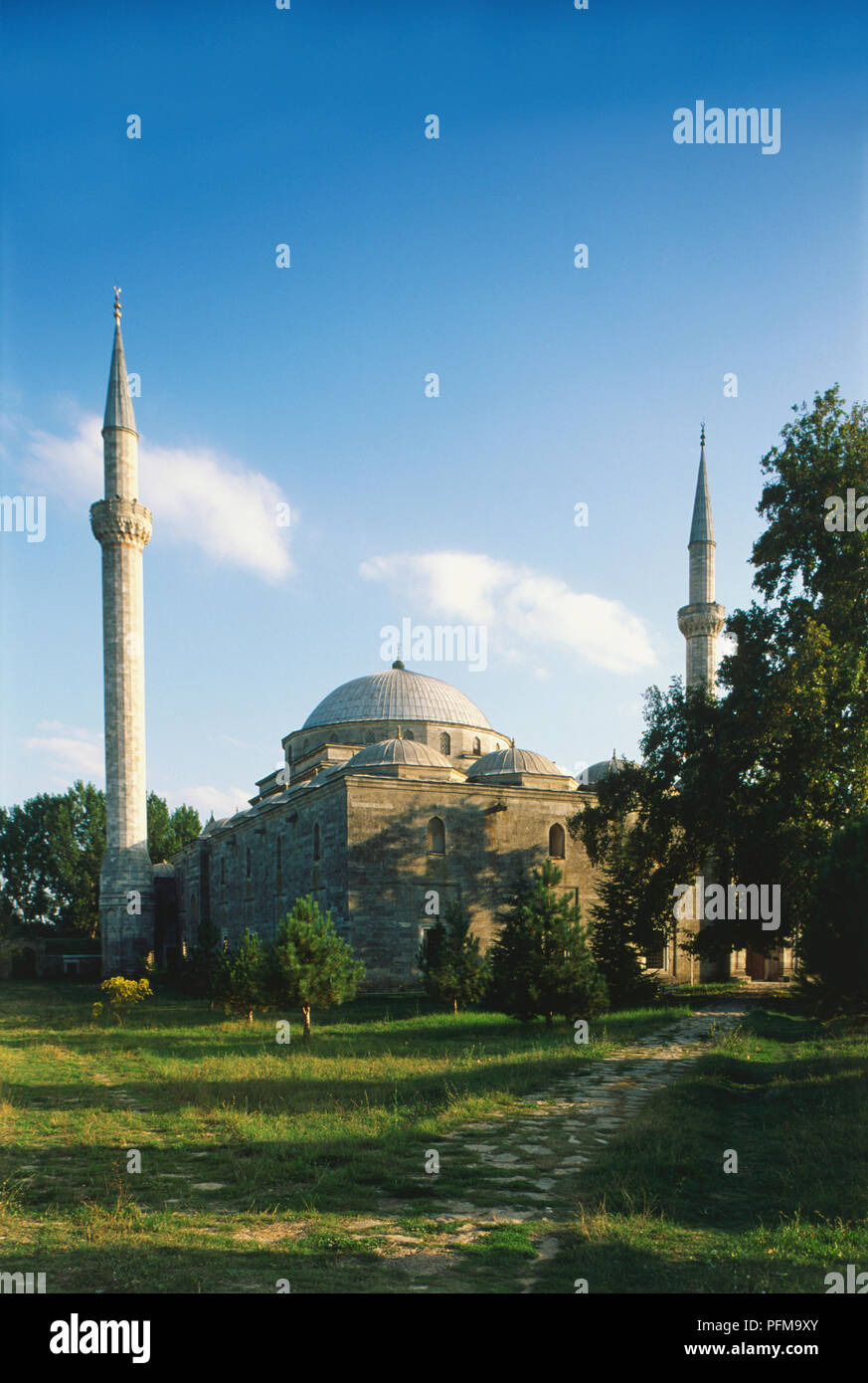 Asia, Turkey, Edirne, exterior, domes and minarets of the 15th-century Beyazit II Mosque, grass and trees in foreground. - Stock Image