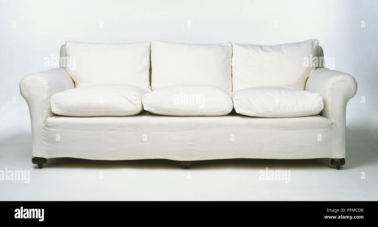 Excellent White Three Seater Sofa From The 1930S Cotton Covered With Uwap Interior Chair Design Uwaporg