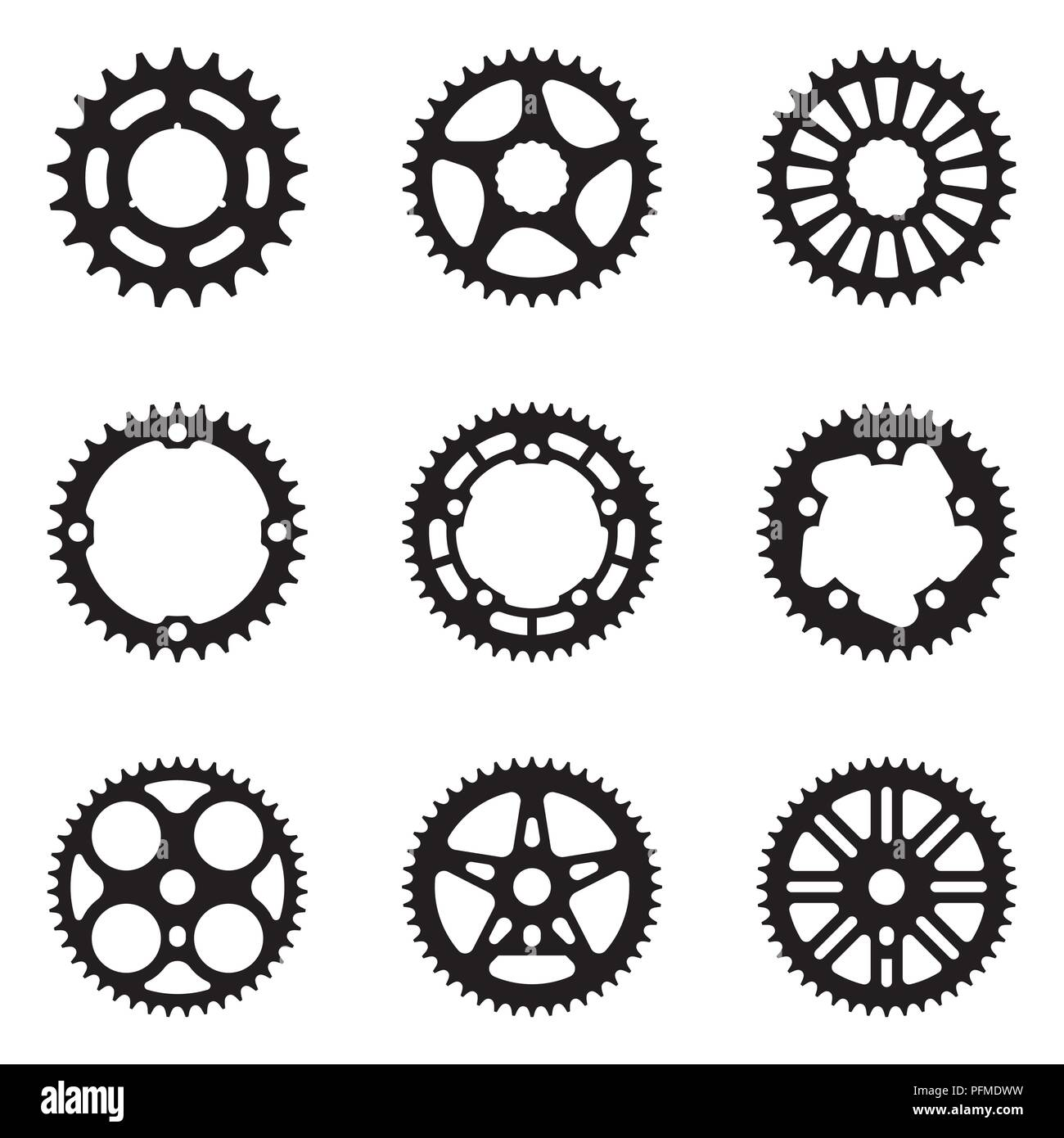 Sprocket wheel icon set  Bicycle parts  Silhouette vector Stock