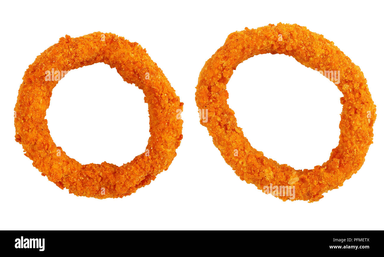 golden breaded battered crispy two onion rings isolated on white background, view from above, close-up - Stock Image