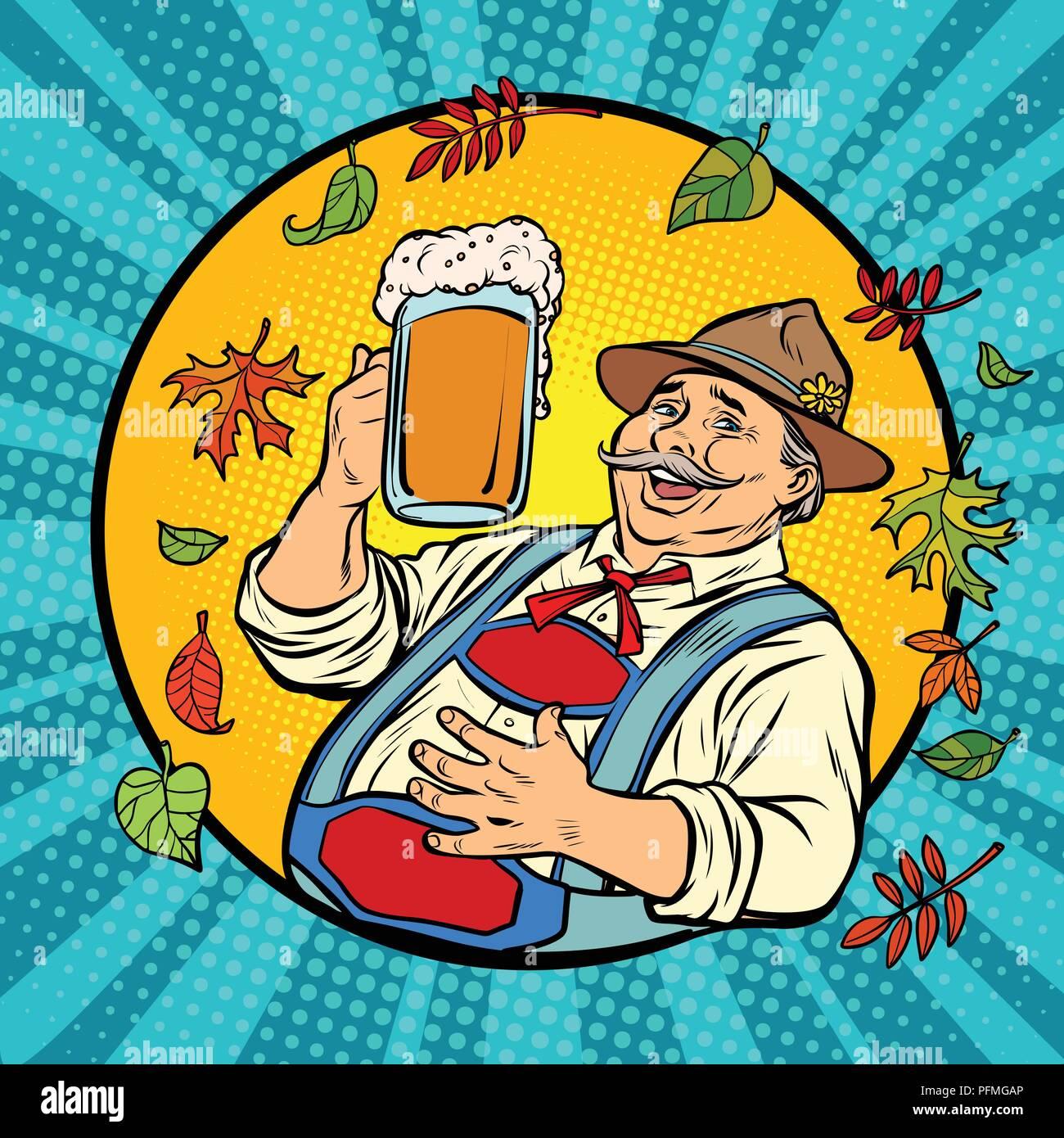 Oktoberfest German Old Man With Beer Comic Cartoon Pop Art Retro Vector Illustration Drawing Stock Vector Image Art Alamy