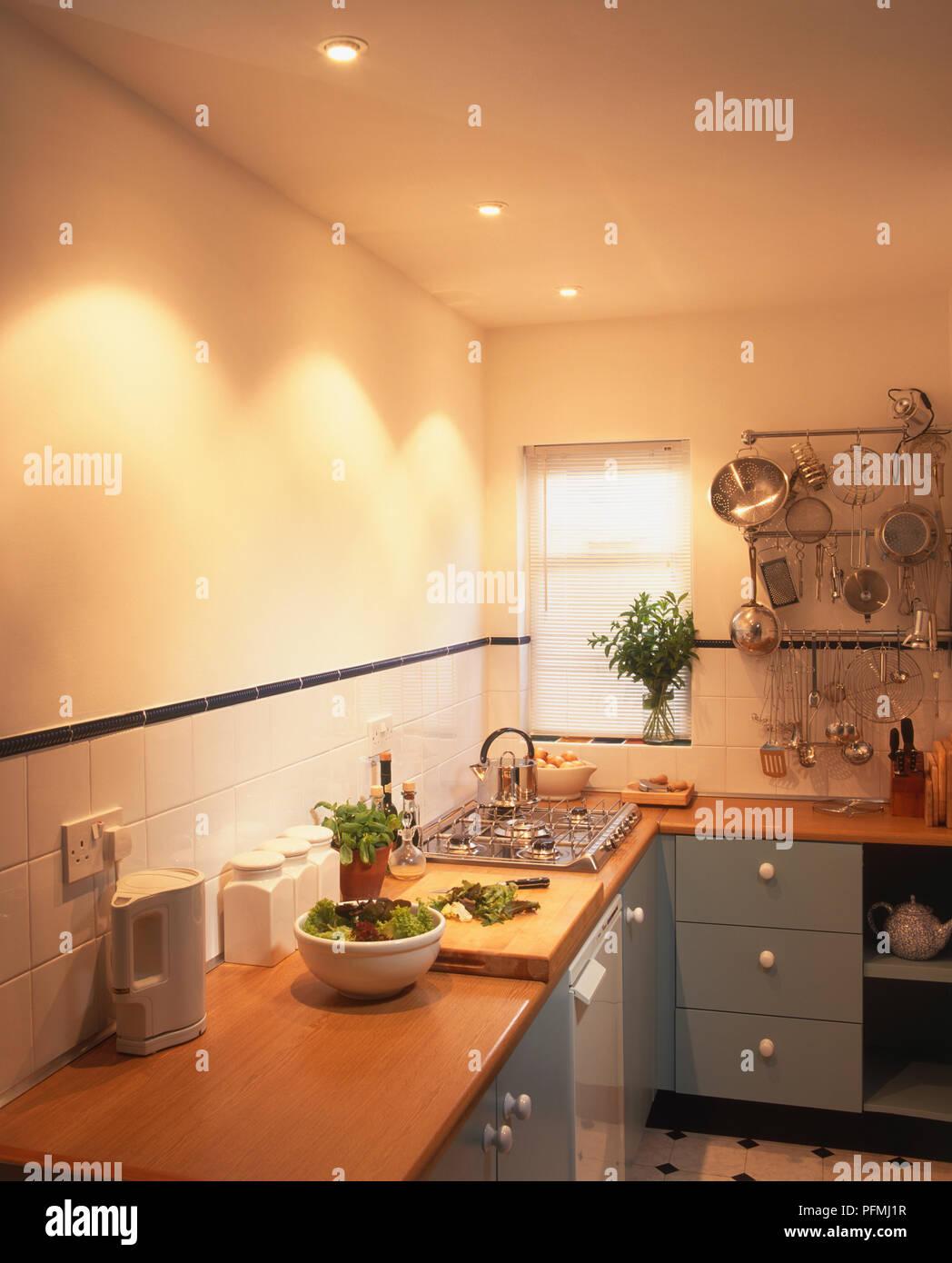 Ceiling Downlights Over Kitchen Worktop Stock Photo Alamy