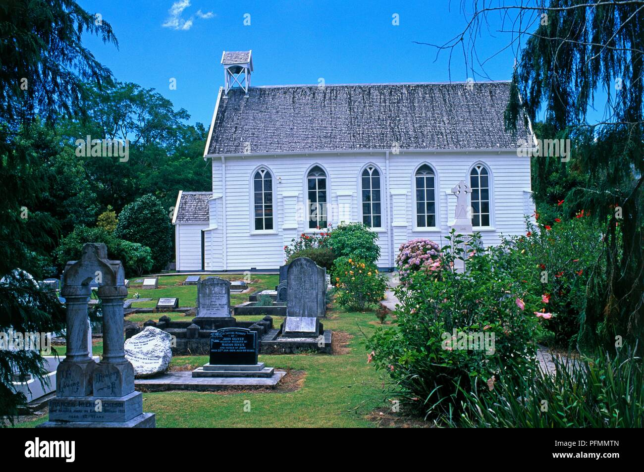 New Zealand, Northland, Russell, Christ Church, the country's oldest surviving Church, built in 1836 - Stock Image