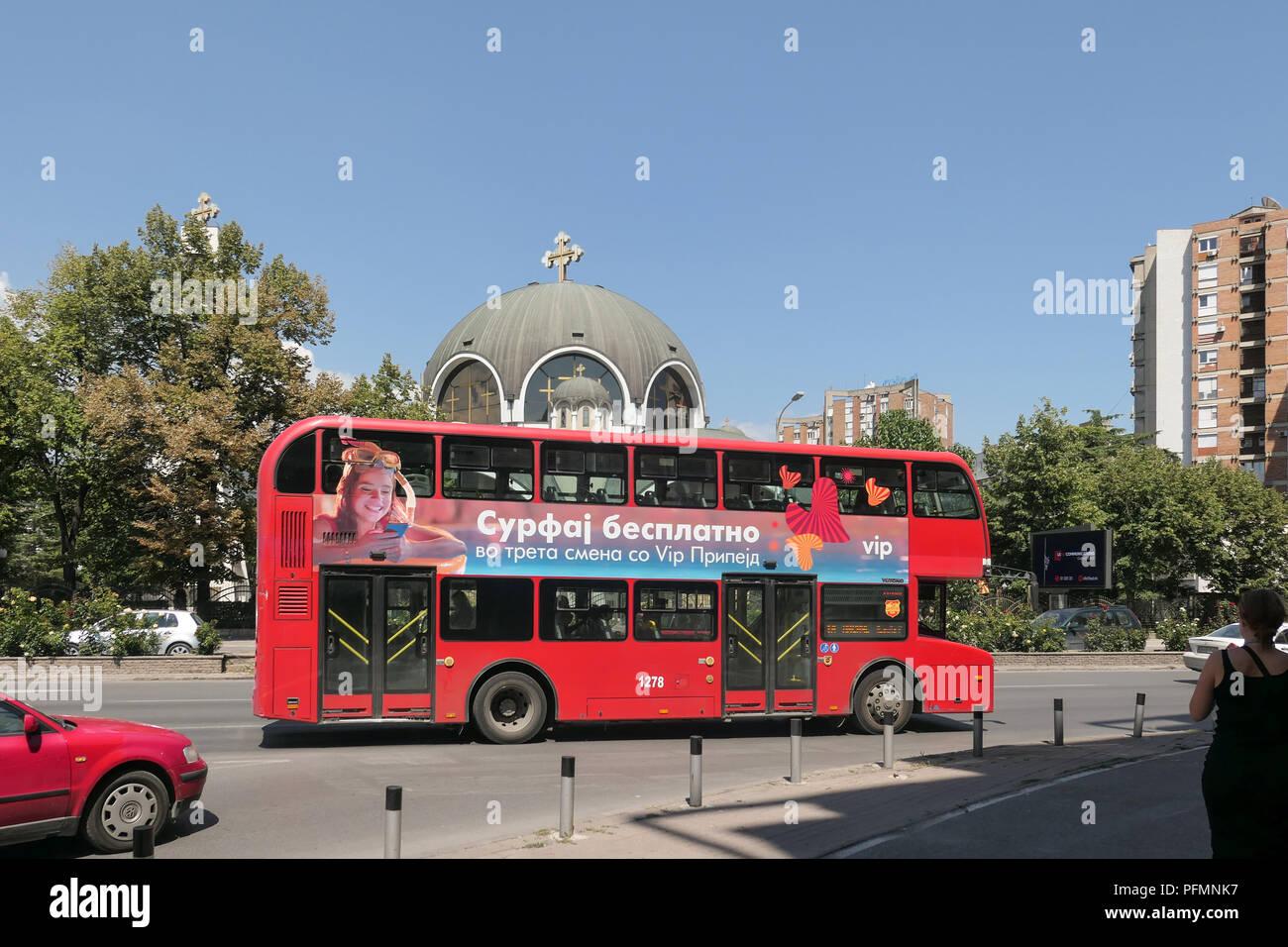 red London double decker bu in Skopje, Macedonia - Stock Image