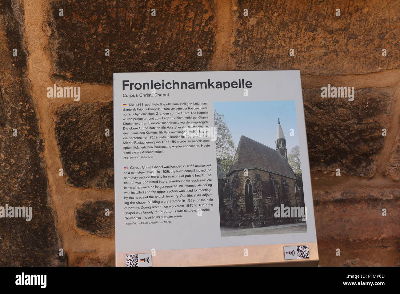 Schild 'Fronleichnamkapelle' im Zentrum von Lutherstadt Wittenberg - Stock Image