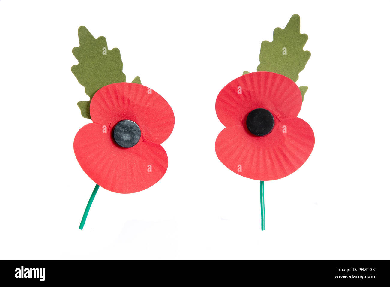 Paper red poppy used to symbolise Remembrance Sunday - Stock Image