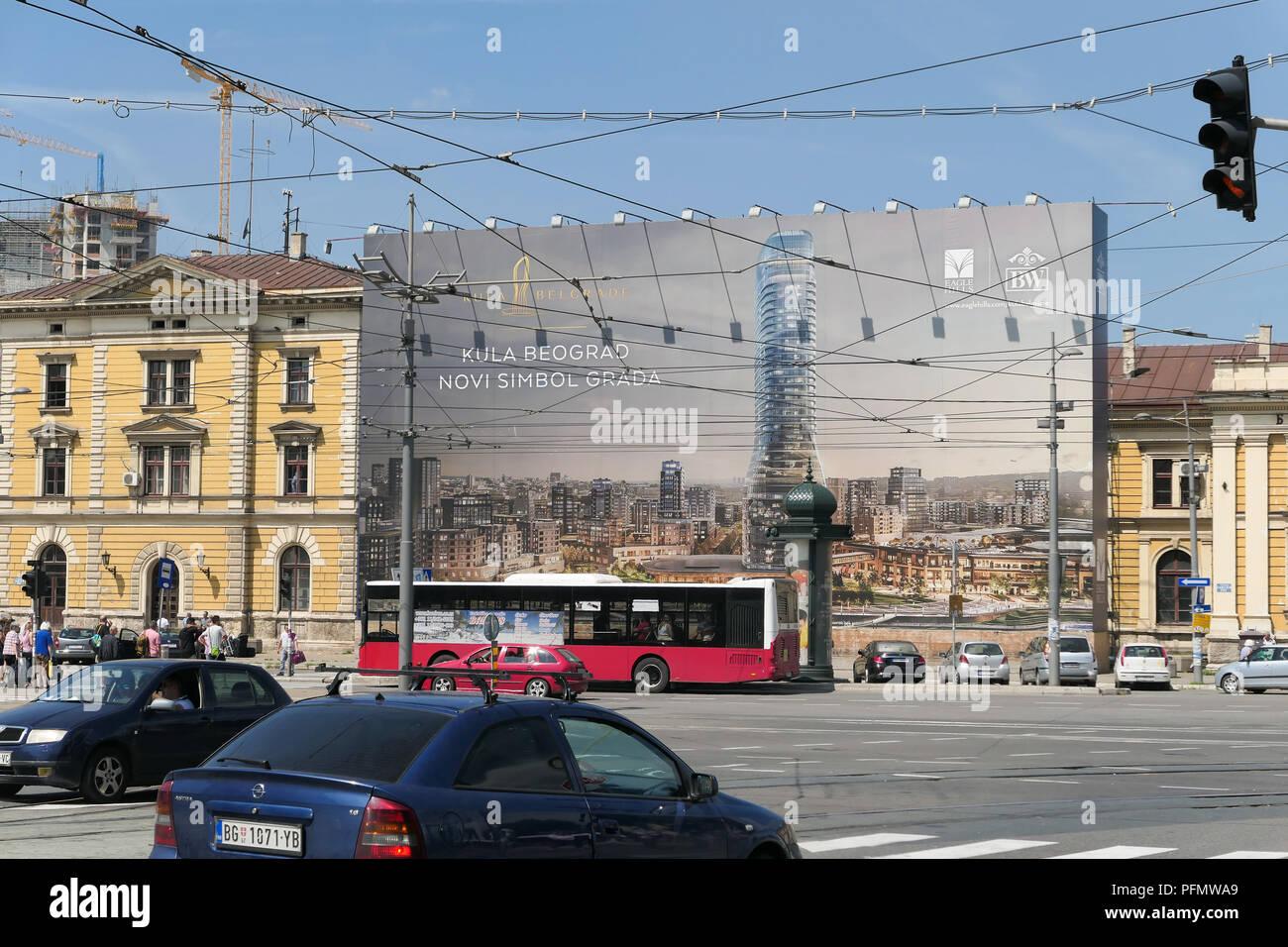 Belgrade Waterfront Development, funded by UAE's Eagle Hills development company, Sava riverside area, Serbia - Stock Image