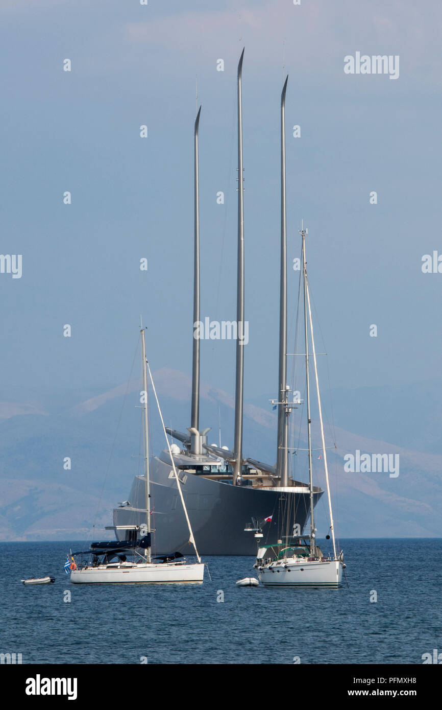 sailing yacht A moored or anchored in the bay off of Kerkyra in Corfu owned by Russian Billionaire Andrey Igorevich Melnichenko. Stock Photo
