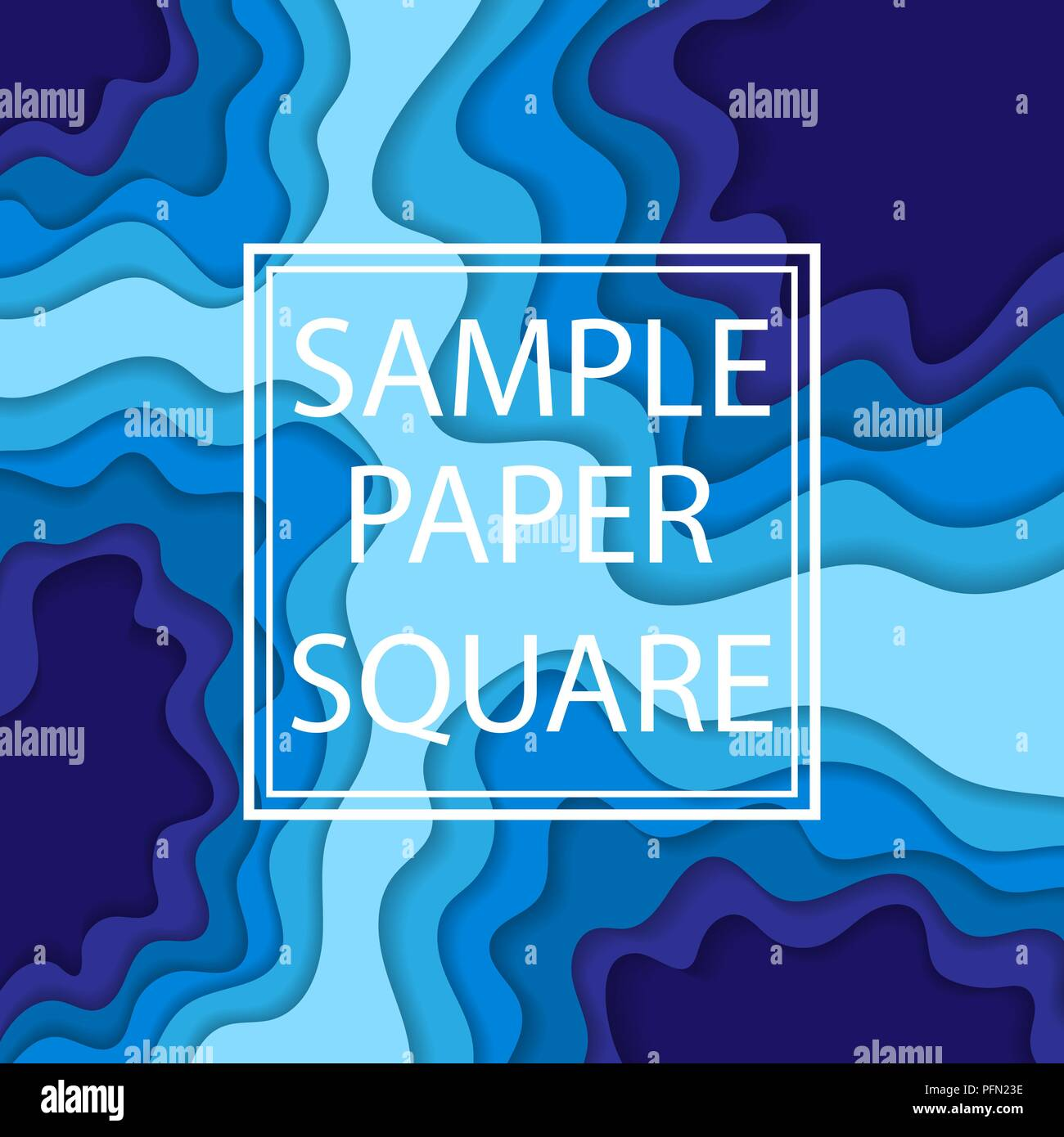 Abstract blue background with cut paper elements and sample text - Stock Image