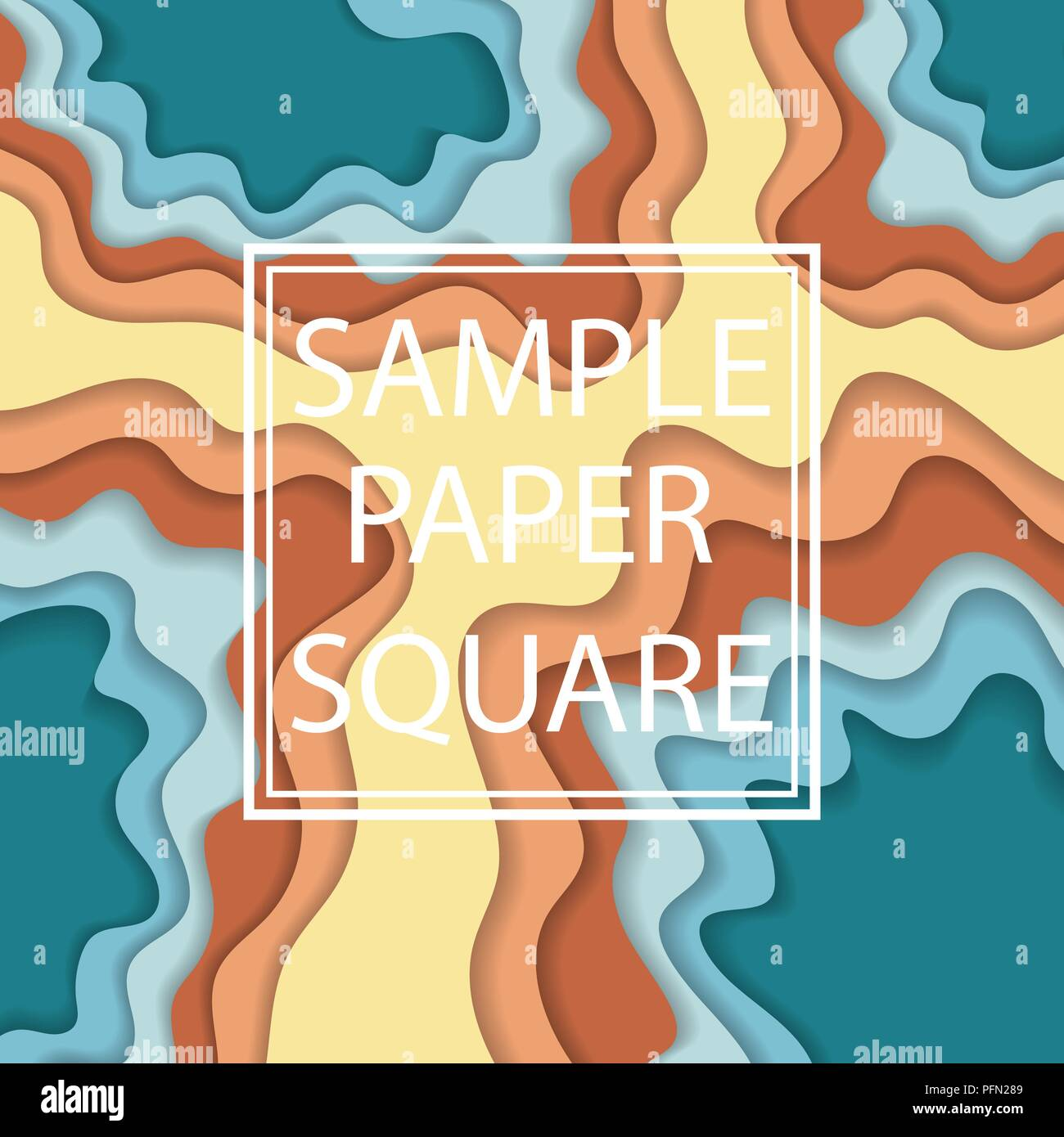 Abstract blue and yellow background with cut paper elements and sample text - Stock Image