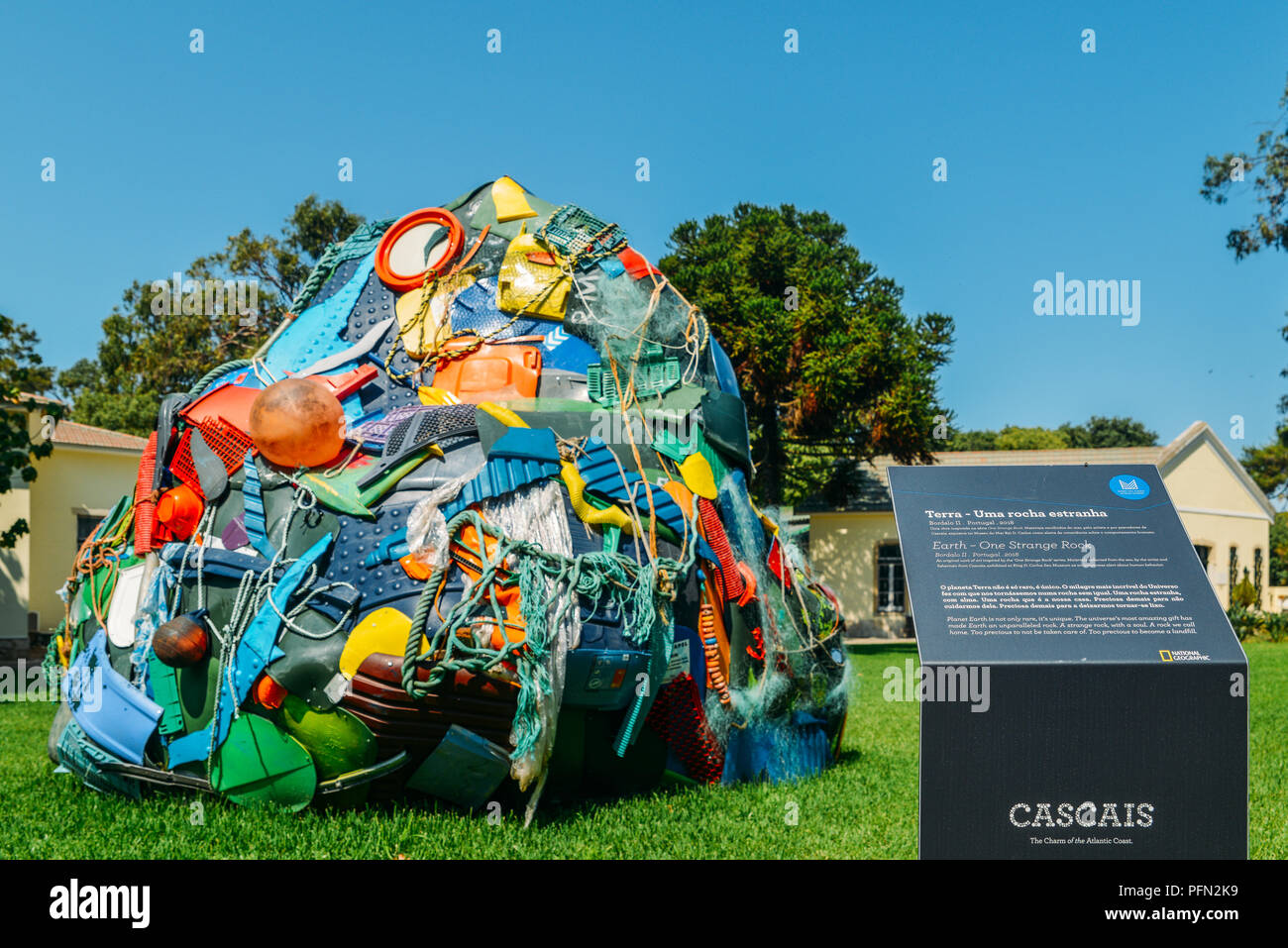 Terra - Uma Rocha Estranha', or 'One Strange Rock' is an artistic installation by Bordalo II in the Museu do Mar, Cascais, Portugal - Stock Image