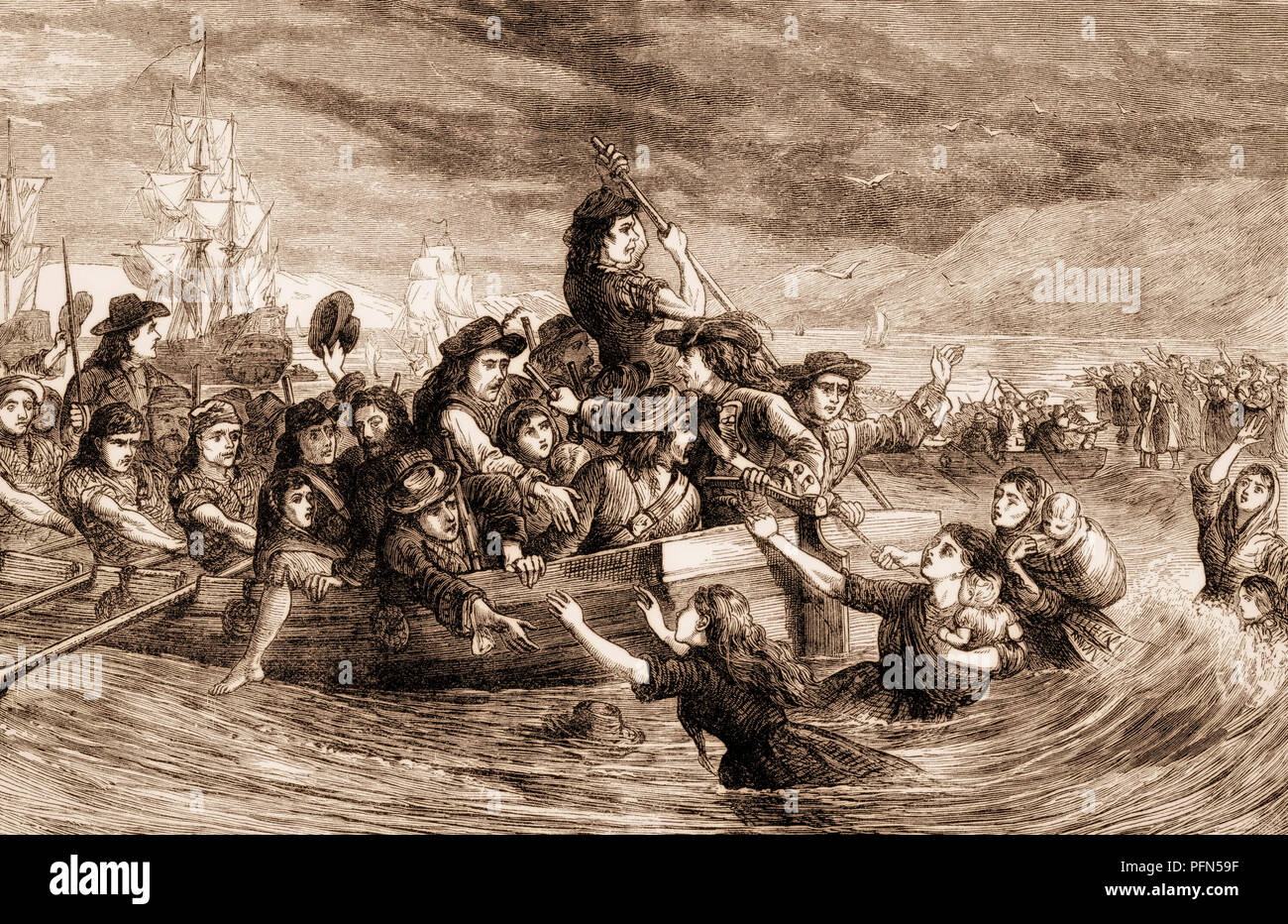 The Siege of Limerick, Williamite War in Ireland, From British Battles on Land and Sea, by James Grant - Stock Image