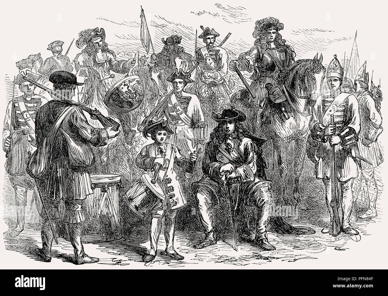 Military uniforms of the 17th century, From British Battles on Land and Sea, by James Grant - Stock Image