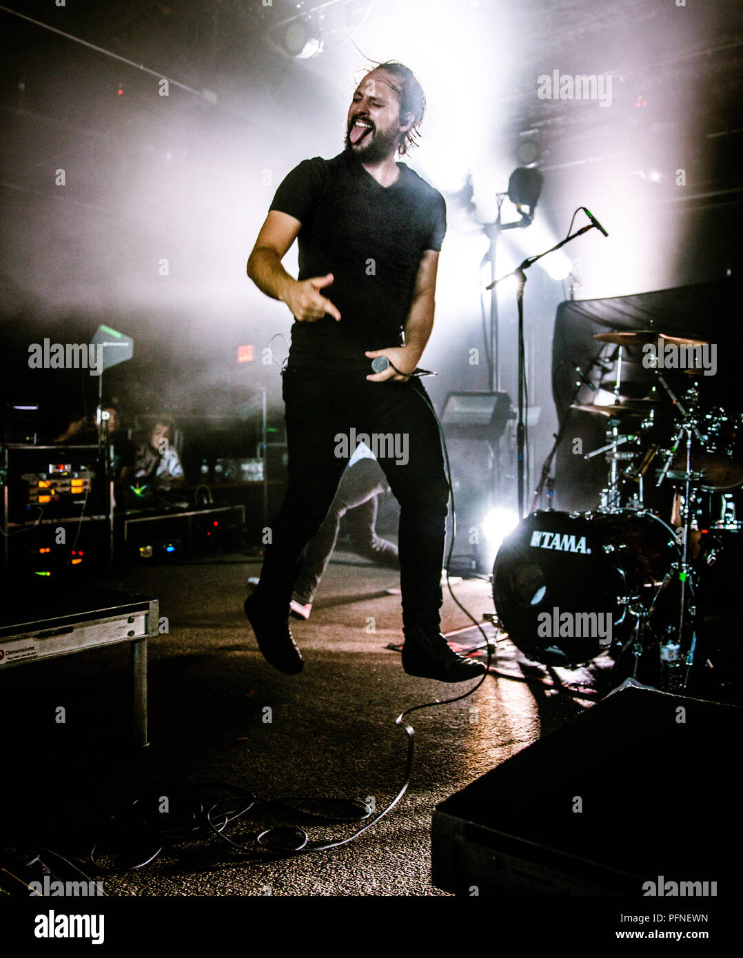 Austin, Texas, USA. 19th Aug, 2018. LUKAS MAGYAR, the lead vocalist of Veil of Maya, performs at Empire Control Room & Garage in Austin, Texas for the last stop of The Summer Slaughter Tour 2018. Credit: Alicia Armijo/ZUMA Wire/Alamy Live News - Stock Image