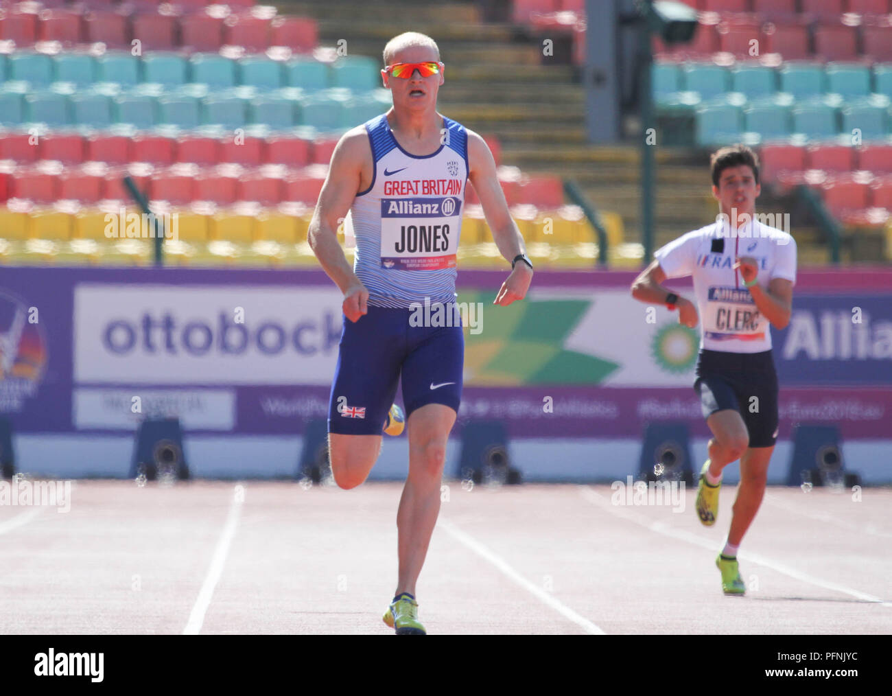 Berlin, Germany. 22nd August, 2018. Rhys Jones competes in the 100m during Day 3 of the World Para Athletics European Championships in Berlin, Germany Credit: Ben Booth/Alamy Live News - Stock Image
