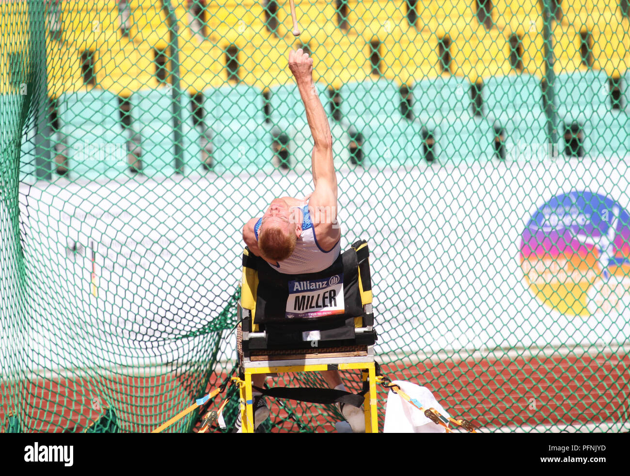 Berlin, Germany. 22nd August, 2018. Stephen Miller competes in the mens Club Throw during Day 3 of the World Para Athletics European Championships in Berlin, Germany Credit: Ben Booth/Alamy Live News - Stock Image