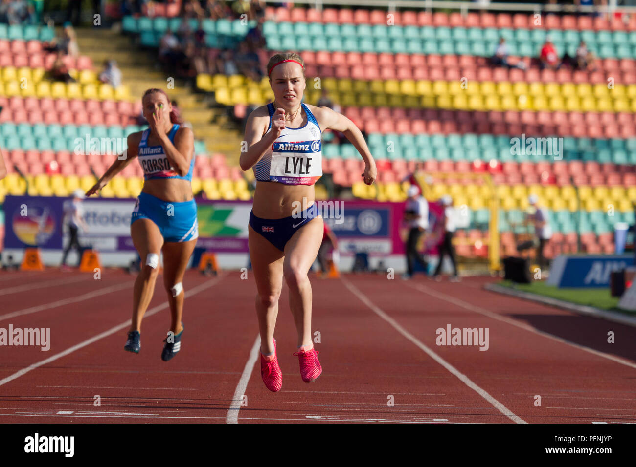 Berlin, Germany. 22nd August, 2018. Maria Lyle running in the Women's T35 100m on Day 3 of the World Para Athletics European Championships in Berlin, Germany Credit: Ben Booth/Alamy Live News - Stock Image