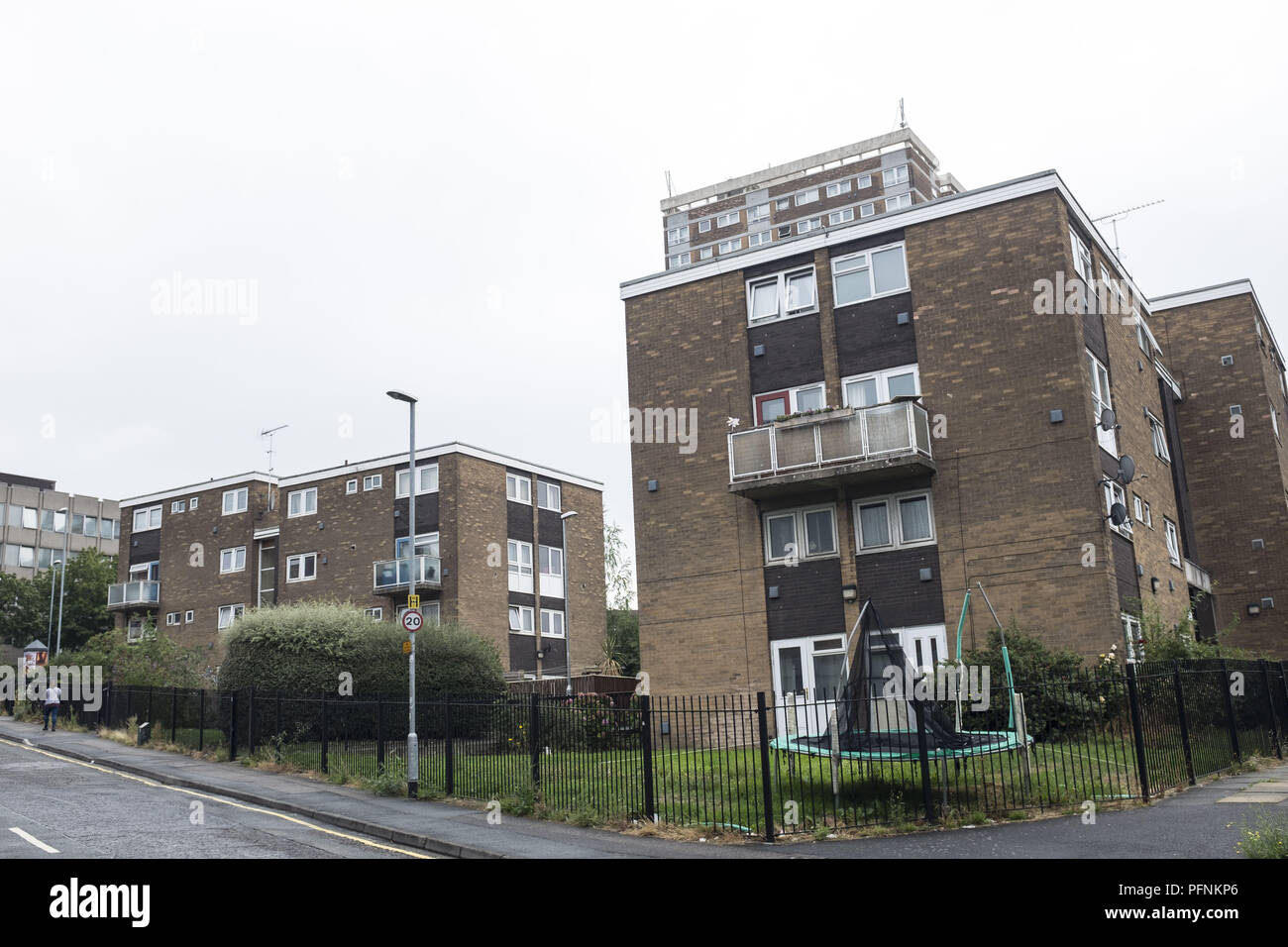Leeds, UK. 20th Aug, 2018. Some Local council housings neighborhood seen in the woodhouse area in Leeds .Social housing is a method of housing tenure in which the home is possessed by a local authority, which may be central or local, Social housing is a rental housing which may be owned and ran by the state, by non-profit organizations, or by a combination of the two, usually with the purpose of delivering affordable housing. Social housing can also be perceived as a potential solution to housing inequality. Credit: Rahman Hassani/SOPA Images/ZUMA Wire/Alamy Live News - Stock Image