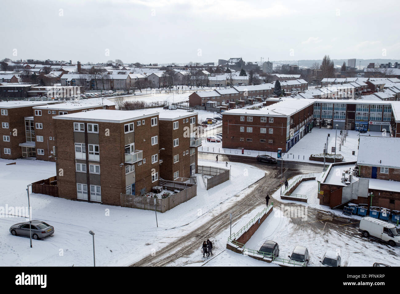 Leeds, UK. 28th Feb, 2018. Some council hosing states seen during the snowy winter in Leeds. Social housing is a method of housing tenure in which the home is possessed by a local authority, which may be central or local, Social housing is a rental housing which may be owned and ran by the state, by non-profit organizations, or by a combination of the two, usually with the purpose of delivering affordable housing. Social housing can also be perceived as a potential solution to housing inequality. Credit: Rahman Hassani/SOPA Images/ZUMA Wire/Alamy Live News - Stock Image