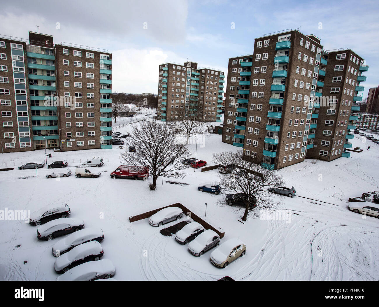 Leeds, UK. 28th Feb, 2018. Some council block of flats seen during the snowy winter in Leeds.Social housing is a method of housing tenure in which the home is possessed by a local authority, which may be central or local, Social housing is a rental housing which may be owned and ran by the state, by non-profit organizations, or by a combination of the two, usually with the purpose of delivering affordable housing. Social housing can also be perceived as a potential solution to housing inequality. Credit: Rahman Hassani/SOPA Images/ZUMA Wire/Alamy Live News - Stock Image