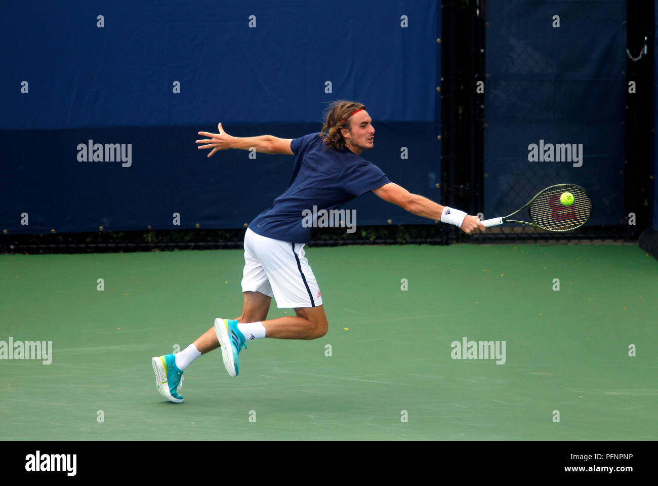 New York N Y August 22 2018 Us Open Tennis Practice Stefanos Tsitsipas Of Greece Practicing At The Billie Jean King National Tennis Center In Flushing Meadows New York As Players Prepared