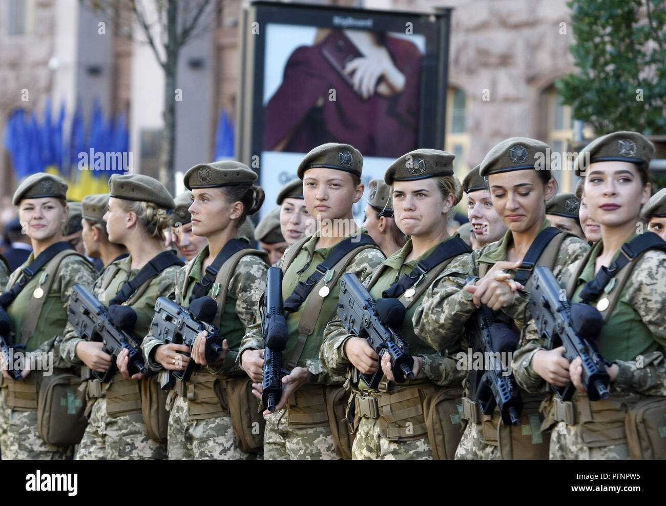 Kiev, Ukraine. 22nd Aug, 2018. Ukrainian servicewomen take part at a rehearsal of the military parade to Independence Day, in center of Kiev, Ukraine, on 22 August 2018. Ukraine will celebrate 27th anniversary of Independence on 24 August. Credit: Serg Glovny/ZUMA Wire/Alamy Live News - Stock Image