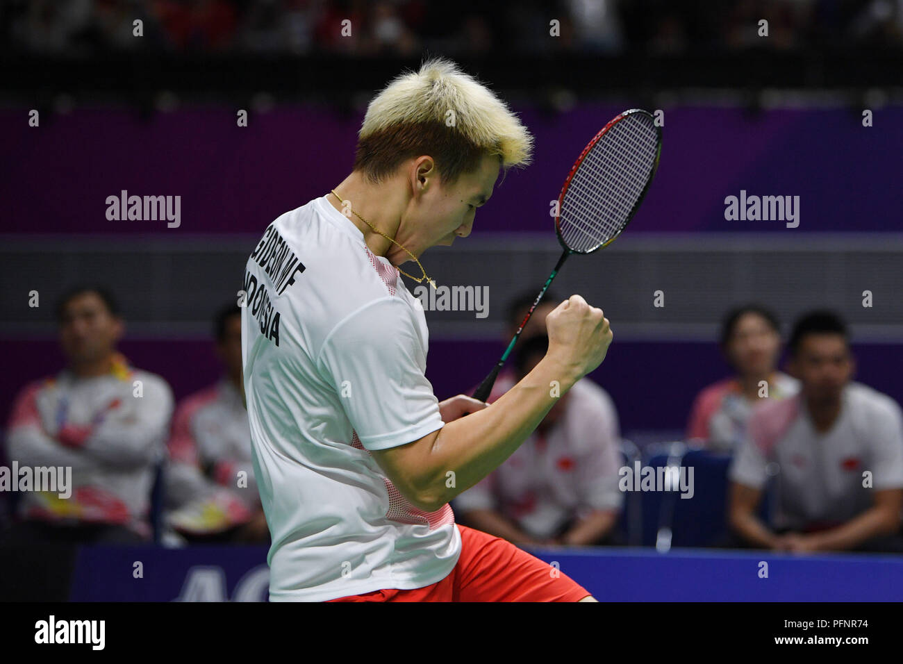 Jakarta, Indonesia. Credit: MATSUO. 22nd Aug, 2018. Gideon Fernaldi & Sukamuljo Sanjaya (INA) Badminton : Men's Team Final match between China - Indonesia at Gelora Bung Karno Istora during the 2018 Jakarta Palembang Asian Games in Jakarta, Indonesia. Credit: MATSUO .K/AFLO SPORT/Alamy Live News - Stock Image