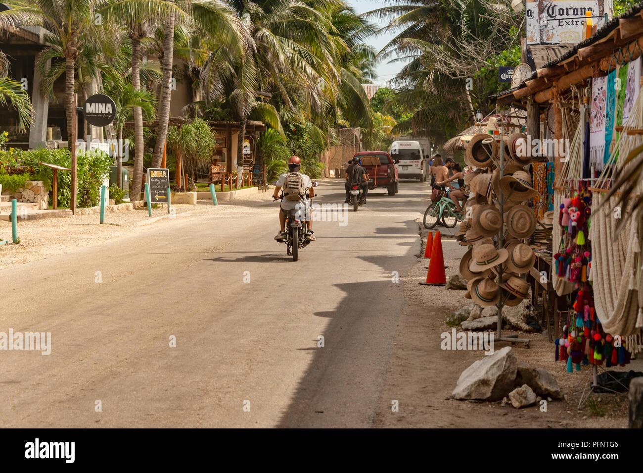 Carretera Tulum Boca Paila road in Tulum, Mexico (August 2018) - Stock Image
