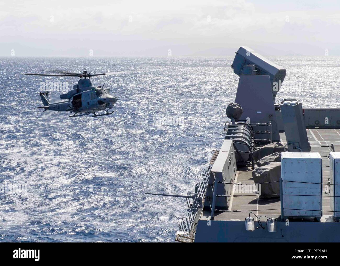 180727-N-PH222-0027 PACIFIC OCEAN (July 27, 2018) A UH-1Y Venom helicopter, assigned to Marine Light Attack Helicopter detachment of Marine Medium Tiltrotor Squadron (VMM) 166, prepares to land on the flight deck of San Antonio-class amphibious transport dock USS Anchorage (LPD 23) during a regularly scheduled deployment of Essex Amphibious Ready Group (ARG) and 13th Marine Expeditionary Unit (MEU). The Essex ARG/MEU team is a strong and flexible force equipped and scalable to respond to any crisis ranging from humanitarian assistance and disaster relief to contingency operations. (U.S. Navy p - Stock Image