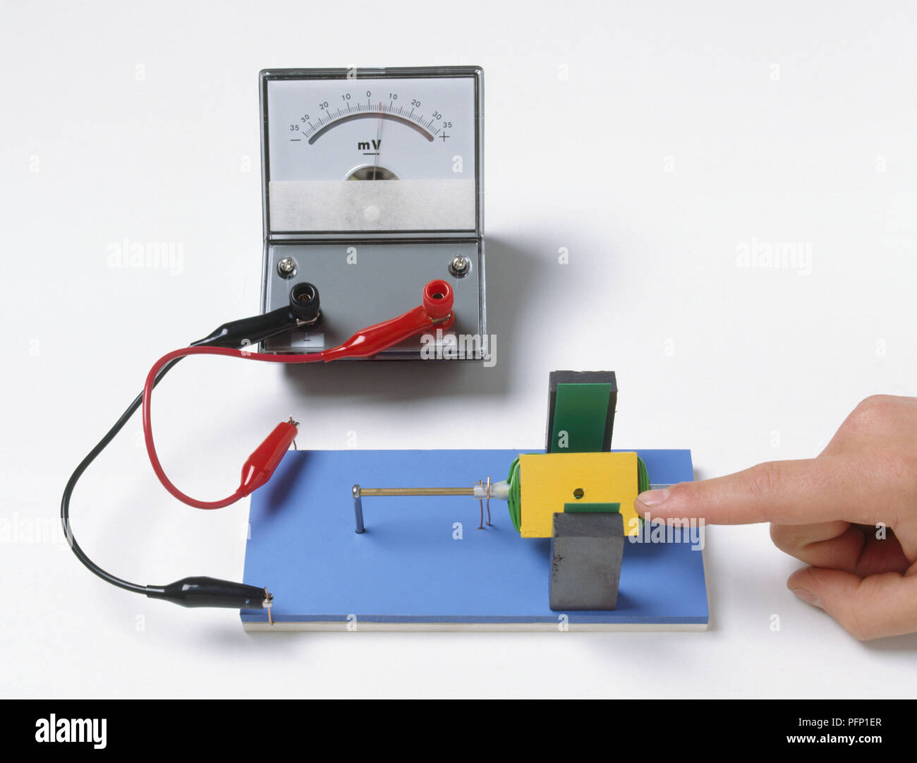 A Mini Generator With A Bar Magnet Electrical Connections And A