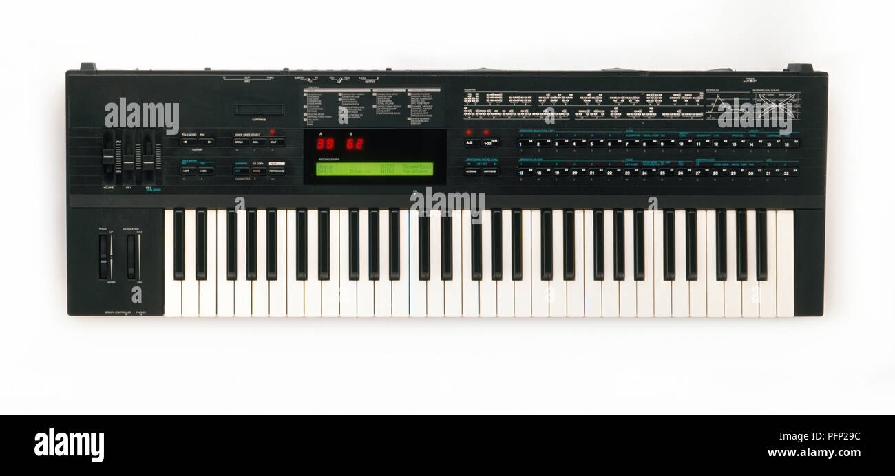 Yamaha DX7 Synthesizer, 1980s, view from above - Stock Image