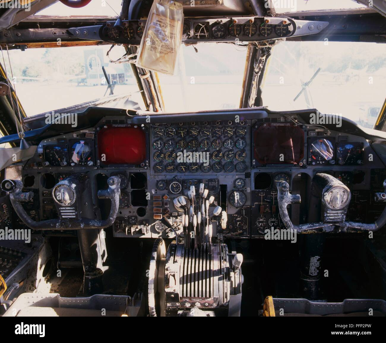 Cockpit interior of a Boeing B-52G Stratofortress (B-52) bomber - Stock Image