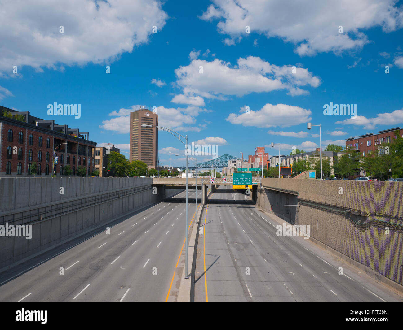 Montreal, Canada. August 19, 2018. Ville-Marie highway in Dowtown Montreal, Canada. Stock Photo