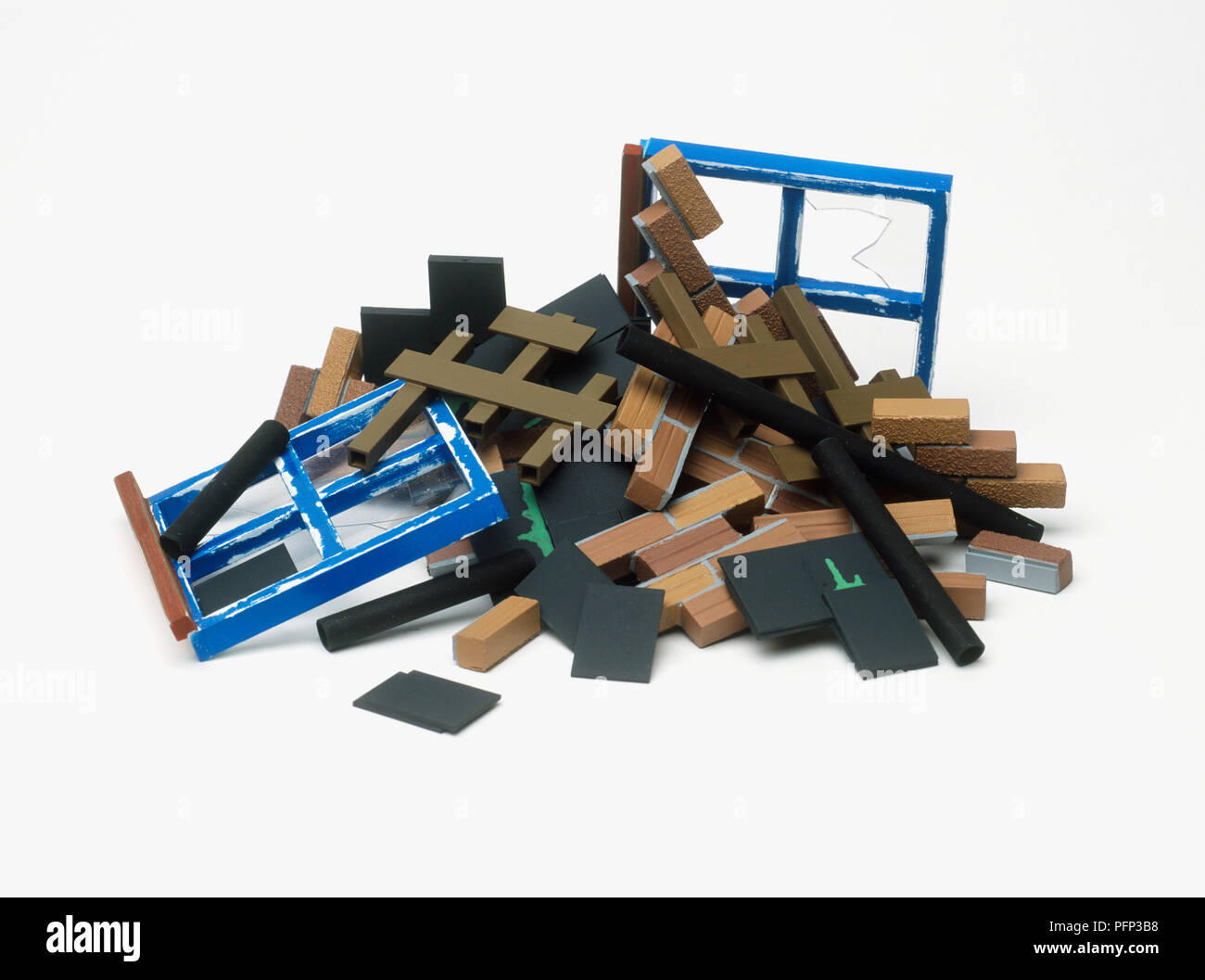 Heap of rubble from demolished house - Stock Image