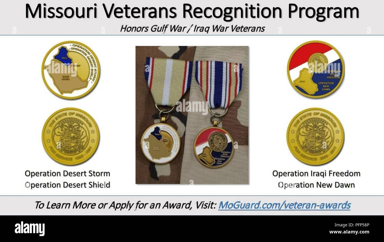 """JEFFERSON CITY, Mo. – Missouri's Veterans Recognition Program is now accepting applications from Veterans who served on active duty during recent conflicts in Iraq.    The Operation Desert Storm/Desert Shield and Operation Iraqi Freedom/New Dawn Veterans Recognition Awards are now being offered to eligible Missourians, said retired Chief Warrant Officer 4 James Ortmeyer, the Veterans Recognition Program manager.    """"The awards are currently in the procurement stage and based on previous programs, barring any unforeseen problems, will be available for distribution in the spring timeframe,"""" Ortm - Stock Image"""