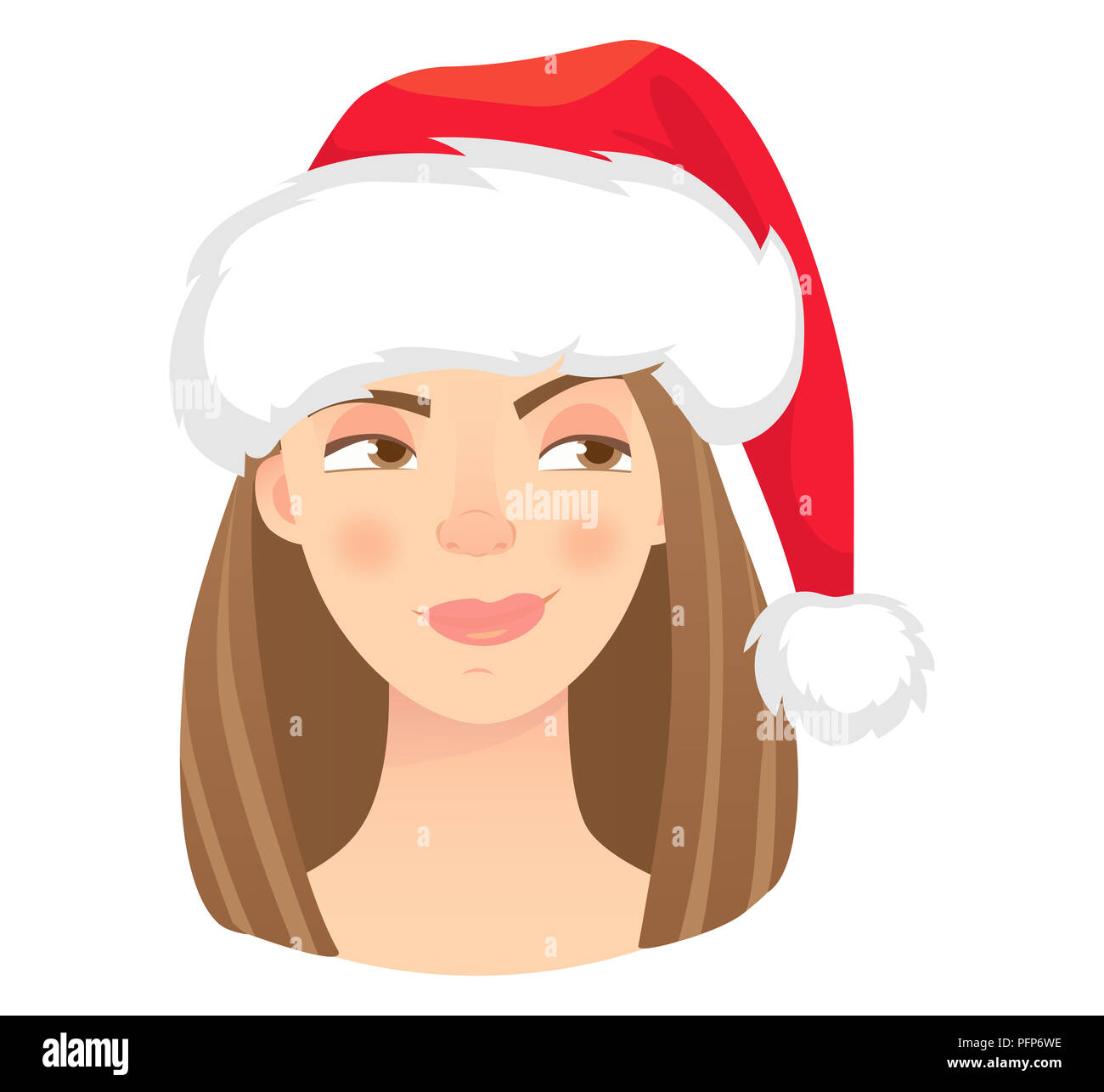 Christmas woman in santa claus hat. Emotions of woman face. Facial expression illustration - Stock Image