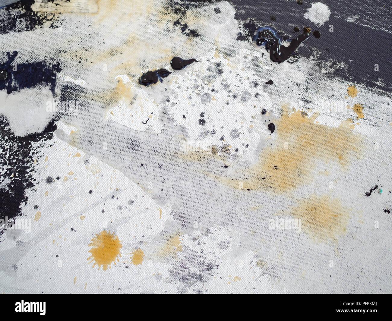 Abstract Black White Texture And Yellow Splash Acrylic Art