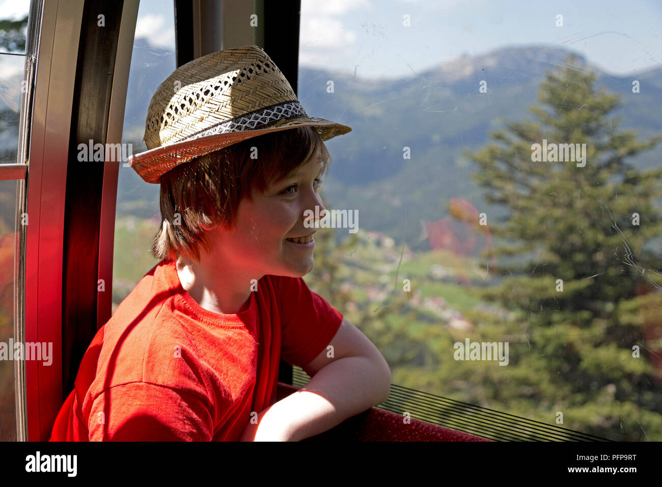 boy in Kanzelwand cable car, Riezlern, little Walser valley, Austria Stock Photo