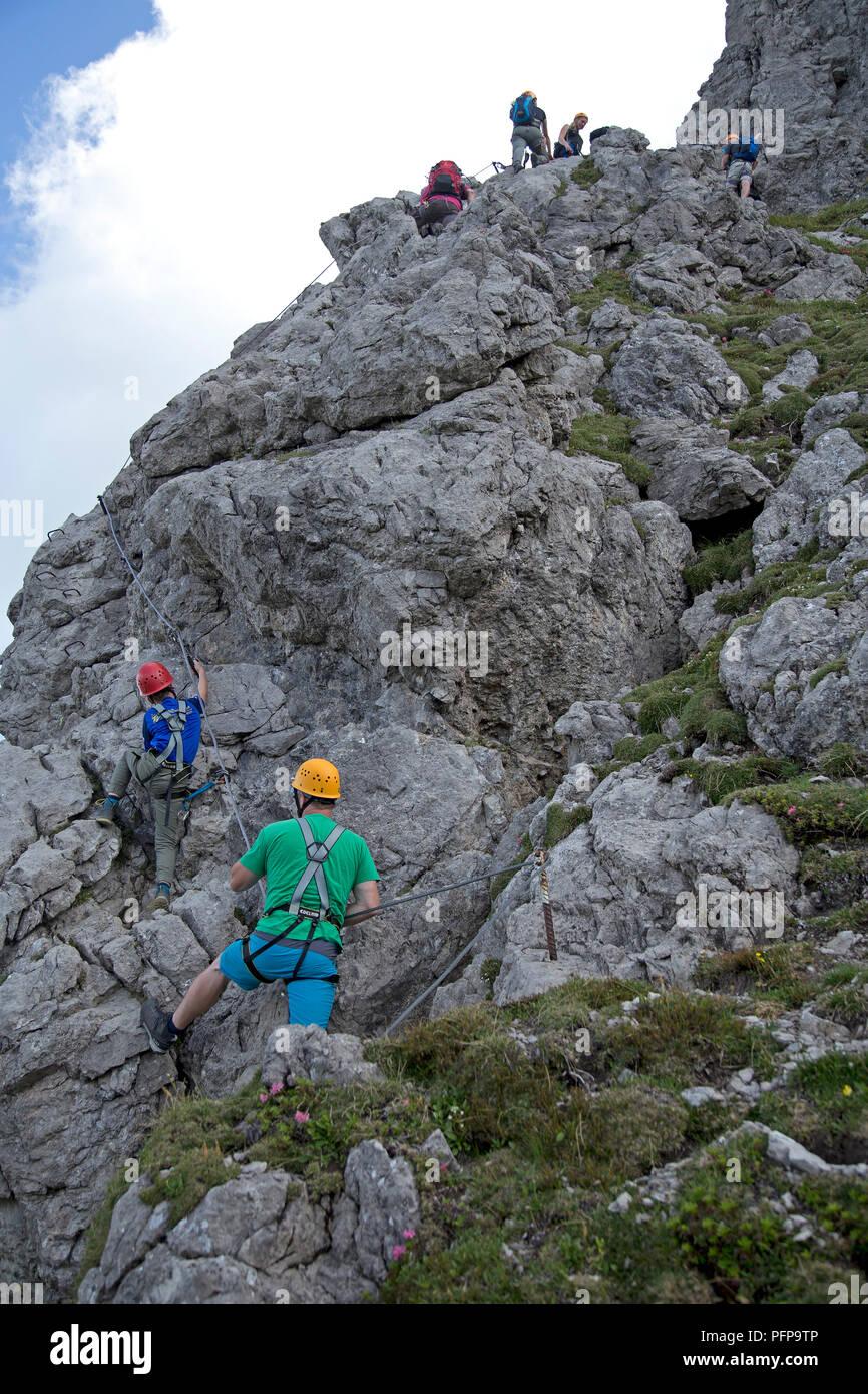 climbing Kanzelwand, Riezlern, little Walser valley, Austria Stock Photo