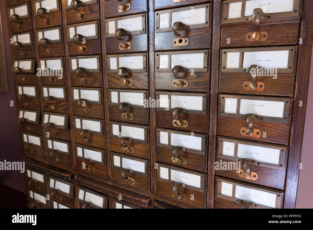 Library card catalog files. - Stock Image