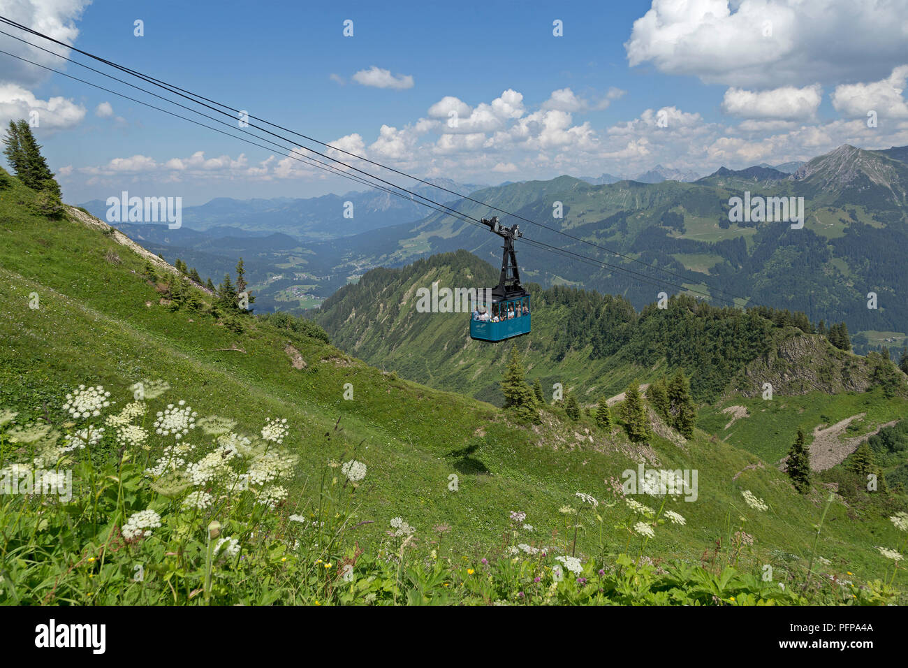 cable car, Walmendinger Horn, Mittelberg, little Walser valley, Austria - Stock Image
