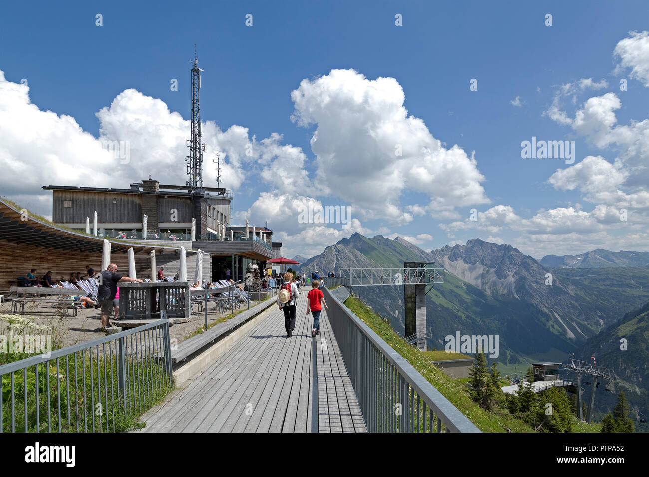 summit station of the cable car, Walmendinger Horn, Mittelberg, little Walser valley, Austria - Stock Image